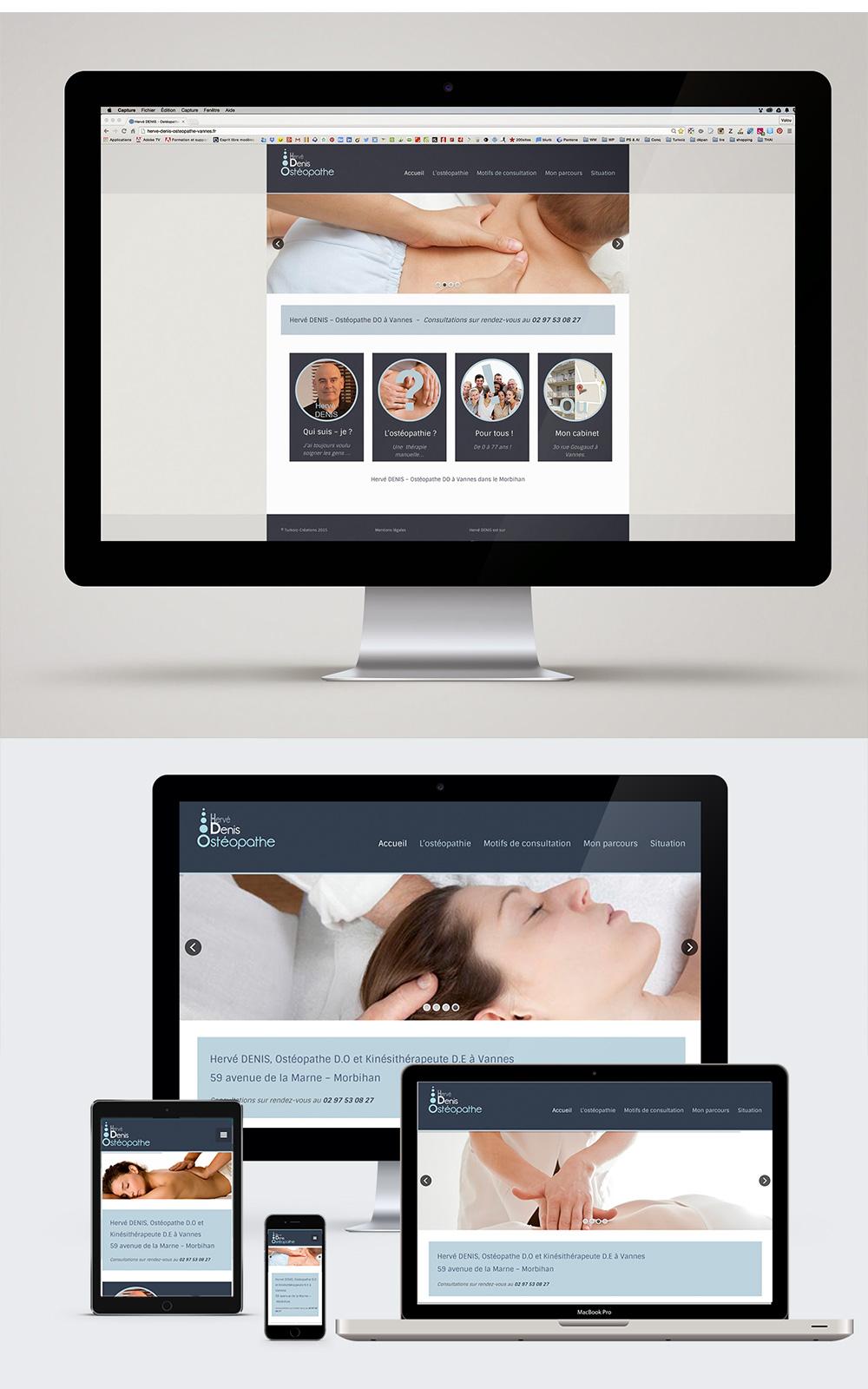 Webdesign - Hervé Denis Ostéopathe à Vannes - Réalisation du site internet par Turkoiz Créations by Valérie Perrodo