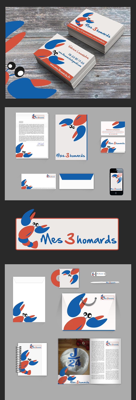 Identité visuelle - Mes 3 Homards - réalisé par Turkoiz Créations by Valérie Perrodo