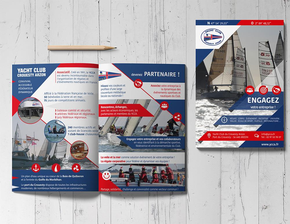 Création Graphique - YCCA Yacht Club Crouesty Arzon- dépliant réalisé par Turkoiz Créations by Valérie Perrodo